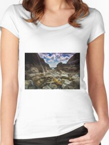 Stoney Cove Below Lydstep Head,Pembrokeshire Women's Fitted Scoop T-Shirt