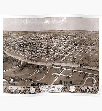 Map of Iowa City - Iowa - 1868 Poster