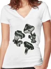 Mushroom Collection Lino Prints Women's Fitted V-Neck T-Shirt