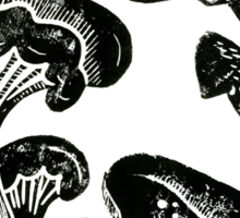 Mushroom Collection Lino Prints Sticker
