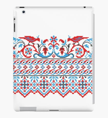 Two colorful cross-stitch birds. Wedding, engagement, save the date iPad Case/Skin