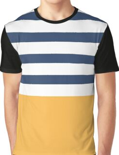 Blue and white stripes with yellow Graphic T-Shirt