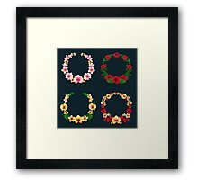 Tropical Flower Frames and Tags Framed Print
