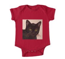 Curious Cats (Black Bombay Cat painting) One Piece - Short Sleeve