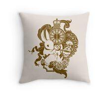 White Rabbit in Brown Throw Pillow