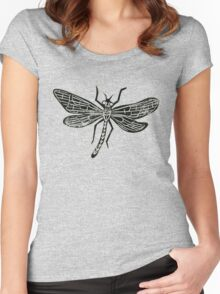 Dragonfly Insect Lino Print Women's Fitted Scoop T-Shirt
