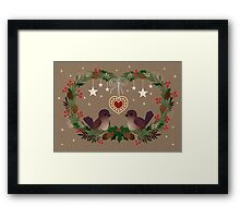 Two Birds on a Christmas Wreath Framed Print