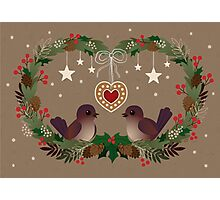 Two Birds on a Christmas Wreath Photographic Print