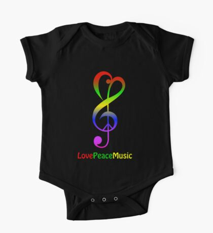 Love peace music hippie treble clef on black One Piece - Short Sleeve