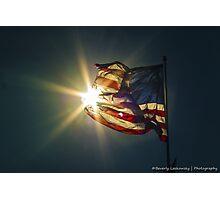Sun & American Flag Photographic Print