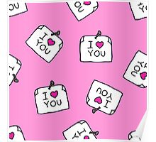 sticker with love message. doodle pattern Poster