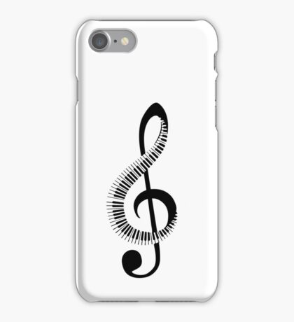Treble clef sign with piano keyboard iPhone Case/Skin