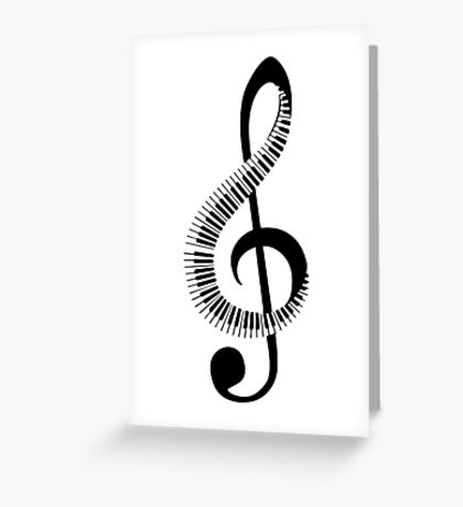 Treble clef sign with piano keyboard Greeting Card