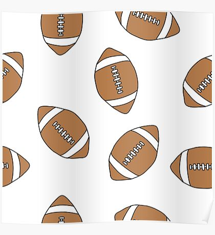 american football doodle pattern Poster