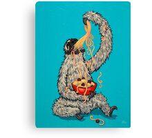 A Sloth Eating Spaghetti Canvas Print
