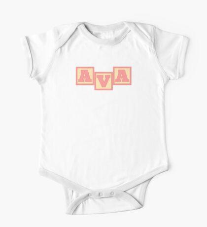 Baby Ava in alphabet building blocks One Piece - Short Sleeve