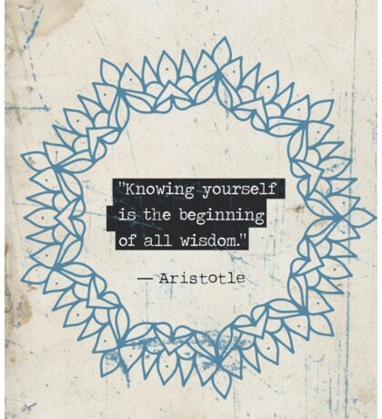 """Knowing yourself is the beginning of all wisdom.""  Sticker"