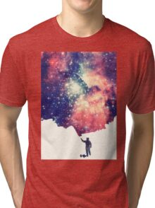 Painting the universe (Colorful Negative Space Art) Tri-blend T-Shirt