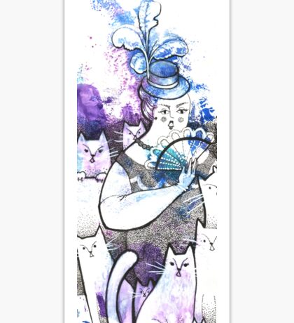 Cat's lady, woman and cats, watercolor & ink sketch Sticker