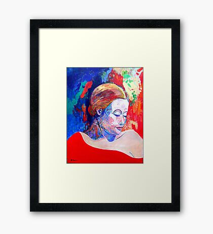 Emily and her Red Shawl Framed Print