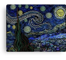Starry Night by Van Gogh in Typography Canvas Print