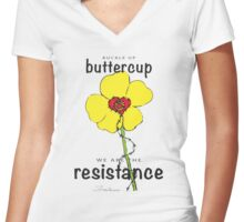 Buttercup Resistance Women's Fitted V-Neck T-Shirt