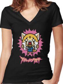 Aggretsuko (V2) Women's Fitted V-Neck T-Shirt