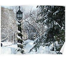 City Hall Park in Snow, New York Poster