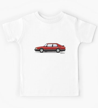 Saab 900 Turbo Classic Talladega red Kids Tee