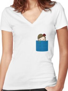 Eleventh Doctor in my Pocket Women's Fitted V-Neck T-Shirt