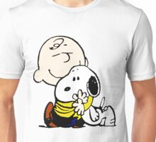 Charlie Brown hugging Snoopy Unisex T-Shirt