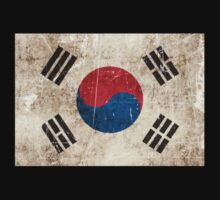 Vintage Aged and Scratched South Korean Flag One Piece - Short Sleeve