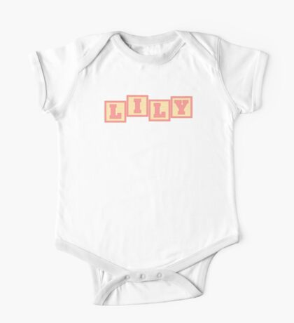 Baby Lily in alphabet building blocks One Piece - Short Sleeve