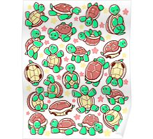 Adorable turtle pattern all over Poster