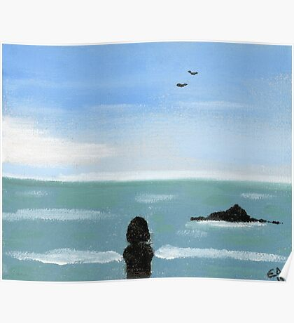 Girl and the Ocean. Original Oil On Canvas Painting  Fine Art Print from Oil On Canvas Painting Landscape Painting Art Oil On Canvas Wall Art Poster