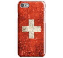 Vintage Aged and Scratched Swiss Flag iPhone Case/Skin