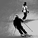 Winter Fun  - Skier and Snowboarder by NaturePrints
