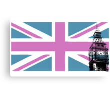 Union Jack and Big Ben, London, UK, Pink and Purple Canvas Print