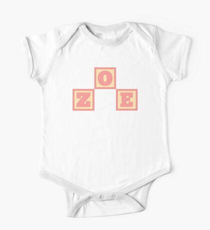 Baby Zoe in alphabet building blocks One Piece - Short Sleeve