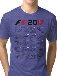 Formula 1 F1 2017 calendar all circuits white Tri-blend T-Shirt