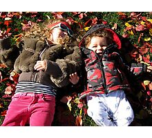 FALL AUTUMN LEAVES WE LAY THE FUN AND THE JOY.. PICTURE Photographic Print