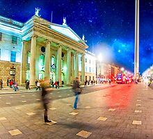 O'Connell Street in Motion - Dublin at Night by Mark Tisdale