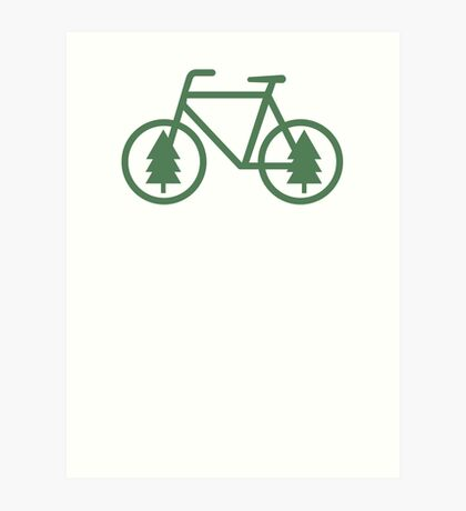 Pacific Northwest Bike - Pine Tree Bicycle - Cycling Art Print