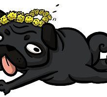 Dandelion Pug-- Black by pettyartist