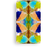 Blue Green Abstract Algea Patterned Artwork Canvas Print