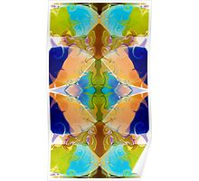Blue Green Abstract Algea Patterned Artwork Poster