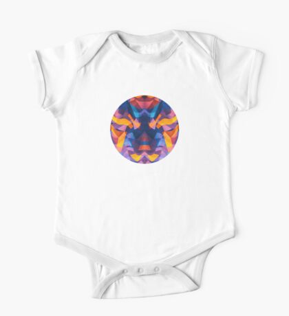 Abstract Surreal Chaos theory in Modern Blue / Orange One Piece - Short Sleeve