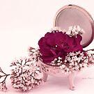 Pink Geranium In Vintage Dish  by Sandra Foster