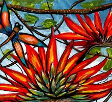 Flame Tree & Dragonfly by Sheridon Rayment by BlueMoonOwl