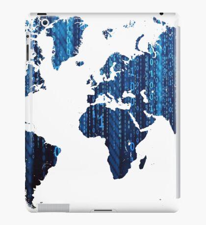 World Map Blue Binary iPad Case/Skin